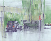 Parking Drawings - Hummer and Jeep by Donald Maier
