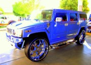 Sport Utility Vehicle Posters - Hummer Too Blue Poster by Don Struke