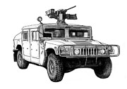 Charcoal Car Framed Prints - Hummer US army car drawing art poster Framed Print by Kim Wang