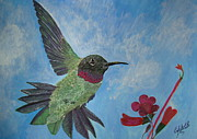 London Painting Originals - Humming-Bird by Cybele Chaves