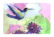 Ink Paintings - Hummingbird 01 by Ryan Irish