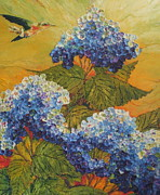 Paris Wyatt Llanso Posters - Hummingbird and Blue Hydrangea Poster by Paris Wyatt Llanso