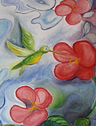 Hummingbird And Hibiscus Print by Teresa Hutto