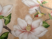 Anke Wheeler Paintings - Hummingbird and Magnolia by Anke Wheeler