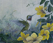 Fauna Mixed Media Originals - Hummingbird and Mandevillas by Sandy Clift