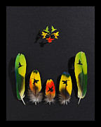 Birds Reliefs Prints - Hummingbird Flower 2 Print by Chris Maynard