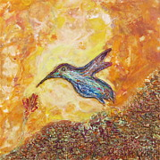 Colibri Paintings - Hummingbird In Blue by Joe Bourne