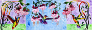 Hummingbird Paintings - Hummingbird Triptych by Sherry Shipley