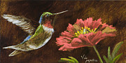 Vic Mastis Painting Metal Prints - Hummingbird with Gold Leaf by Vic Mastis Metal Print by Vic  Mastis