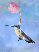 Betty Larue Posters - Hummingbirds Like to Swing Poster by Betty LaRue