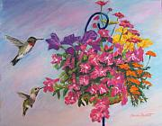Basket Pastels Prints - Hummingbirds Print by Marion Derrett