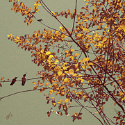 Birds - Hummingbirds On Yellow Tree by Ben and Raisa Gertsberg