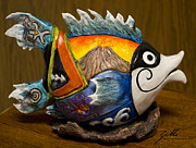 Surf Art Sculpture Posters - Hummuhummu Warrior Poster by Suzette Kallen