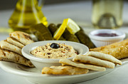 Grape Leaves Photos - Hummus Pita Stuffed Grape Leaves by Donnie Weaver