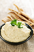 Ceramic Metal Prints - Hummus with pita bread Metal Print by Elena Elisseeva