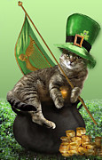 Leaves Digital Art Originals - Humorous St. Patricks day cat with hat and flag  by Gina Femrite