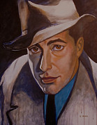 Cellphone Painting Posters - Humphrey Bogart Poster by Leon Crown