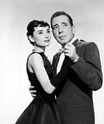 Hepburn Framed Prints - Humphrey Bogart with Audrey Hepburn Framed Print by Sanely Great