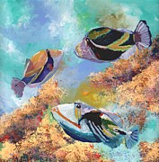 Colorful Tropical Fish Posters - Humuhumu 3 Poster by Marionette Taboniar