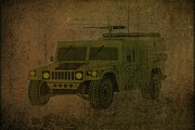 Wheel Drawings Metal Prints - Humvee Midnight Desert  Metal Print by Movie Poster Prints