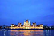 Architectural Style Prints - Hungarian Parliament Building at Dusk Print by Artur Bogacki