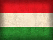 Featured Art - Hungary Flag Vintage Distressed Finish by Design Turnpike
