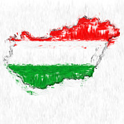 Hungary Posters - Hungary Painted Flag Map Poster by Antony McAulay