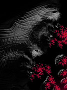 Creepy Digital Art Prints - Hunger - dark and blood red fractal art Print by Matthias Hauser