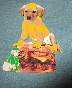 Hunger Mixed Media Posters - Hungry Dogs Poster by Joan Shortridge