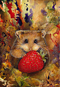Strawberry Prints Framed Prints - Hungry Hamster Framed Print by Darlene Fletcher