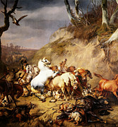 Wolves Digital Art - Hungry Wolves Attacking A Group Of Horsemen by Eugene Verboeckhoven