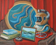 Leagues Paintings - Hunt for the Nautilus by Pamela Poole