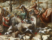 Moscow Paintings - Hunt with bull terriers on a boar by Oleg  Osipoff