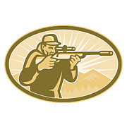 Hunt Digital Art Metal Prints - Hunter Aiming Rifle Oval Retro Metal Print by Aloysius Patrimonio