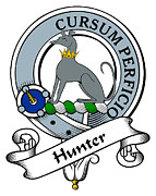 Genealogy Prints - Hunter Clan Badge Print by Heraldry