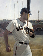 Baseball Painting Framed Prints - Hunter Pence On Deck Framed Print by Darren Kerr