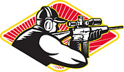 Hunter Prints - Hunter Shooter Aiming Rifle Retro Print by Aloysius Patrimonio