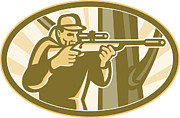 Hunter Posters - Hunter Shooter Aiming Telescope Rifle Retro Poster by Aloysius Patrimonio