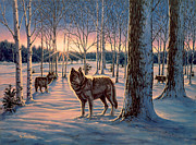 Wolf Paintings - Hunters at Twilight by Richard De Wolfe