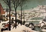 Netherlands Paintings - Hunters in the Snow Pieter Bruegel by Pieter Bruegel