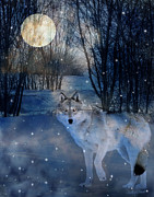 Wolf Moon Posters - Hunters Moon Poster by Judy Wood