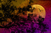 Photomanipulation Photo Prints - Hunters Moon Print by Karen Slagle