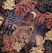 Leopard Tapestries - Textiles - Hunters Moon by Maureen Wartski