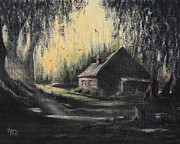 Hunting Cabin Painting Framed Prints - Hunting Cabin Framed Print by Rita Miller