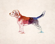 Pet Drawings Prints - Hunting Dog Drawing Print by World Art Prints And Designs