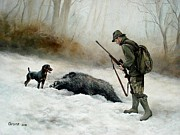 Wild Boar Paintings - Hunting in winter by Istvan Uracs