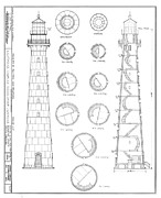 Hunting Drawings Prints - Hunting Island Lighthouse Print by Jerry McElroy