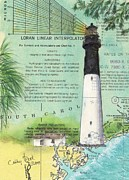 East Coast Lighthouse Paintings - Hunting Island Lighthouse SC Nautical Chart Map Art Cathy Peek by Cathy Peek
