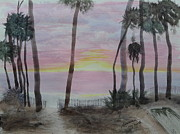 Sand Fences Posters - Hunting Island Sunrise - sketch Poster by Joel Deutsch