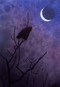 Great Birds Pastels Posters - Hunting Moon II or Great Horned Owl Poster by Robin Street-Morris